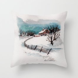 The Winter Barn Throw Pillow