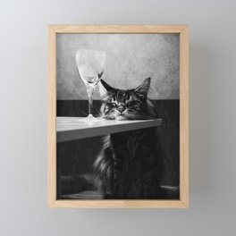 The Nightwatch Cat at the Absinthe bar black and white photograph / art photography Framed Mini Art Print