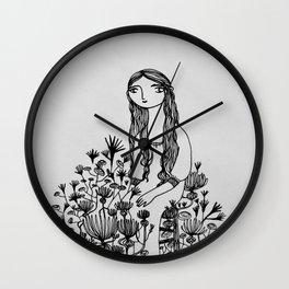 garden girl monochrome Wall Clock