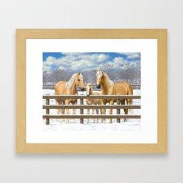 Palomino Quarter Horses In Snow Framed Art Print