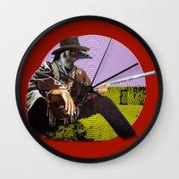 clint barton Wall Clocks featuring Clint Emu by Alan Hogan