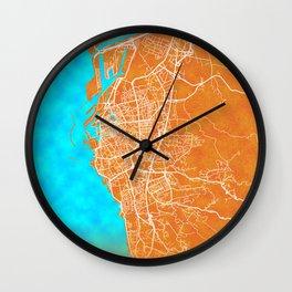 Livorno, Italy, Gold, Blue, City, Map Wall Clock