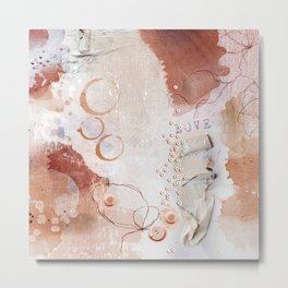 Abstract - Circulating - Richly Textured Design in Vermillion and Rust Color Metal Print