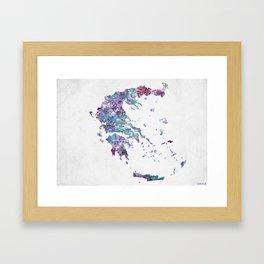 Greece map Landscape Framed Art Print