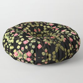 """""""Spring pink flowers and leaves - Black"""" Floor Pillow"""