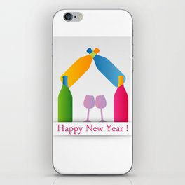New year greetings with House formed with many colorful bottles and glasses iPhone Skin