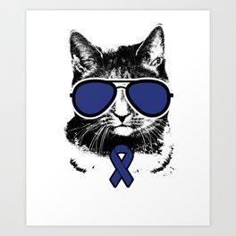 Vintage Blue Ribbon Awareness Cat Art Print