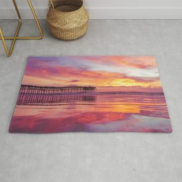 Pink, Blue & Orange Sunset with Low Tide Ocean Water Reflection Rug