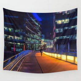 Night time in Media City Wall Tapestry