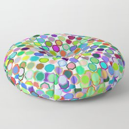 Abstract neon pink teal lavender octagon polka dots pattern Floor Pillow