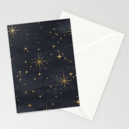 Seamless Pattern Night Sky Gold Stars Magical Mystical Pattern Stationery Cards