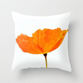 One And Only - Orange Poppy White Background #decor #society6 #buyart Throw Pillow