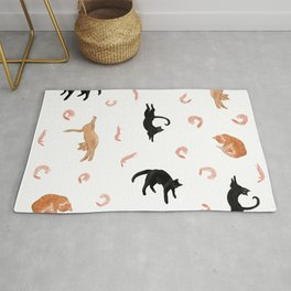 Cats and Shrimp floating in white space Rug
