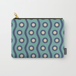 Mid Century Modern Rising Bubbles Pattern Turquoise and Blue Carry-All Pouch