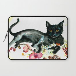 Coffee, Orchid and Black Cat Vintage Style Large Format XXL Laptop Sleeve