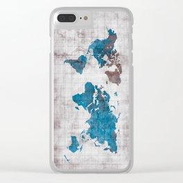 world map 96 blue #worldmap #map Clear iPhone Case