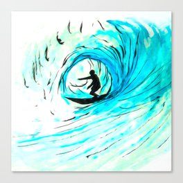 Lone Surfer Tubing the Big Blue Wave Canvas Print