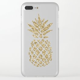 Gold Glitter Pineapple Clear iPhone Case