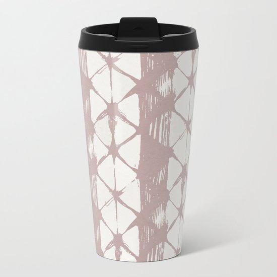 Simply Braided Chevron Clay Pink on Lunar Gray Metal Travel Mug