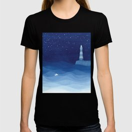 Lighthouse & the paper boat, blue ocean T-shirt