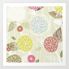 Abstract Floral Beige by Friztin Art Print