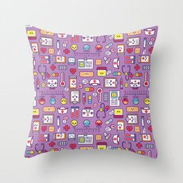 Proud To Be a Nurse Pattern / Purple Throw Pillow