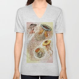 SEA CREATURES COLLAGE-Ernst Haeckel Unisex V-Neck