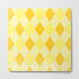 Yellow Argyle Pattern Metal Print