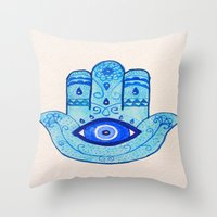 islam Throw Pillows featuring Hamsa - Blue by Hayley Lang