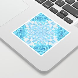 Symmetrical Pattern in Blue and Turquoise Sticker
