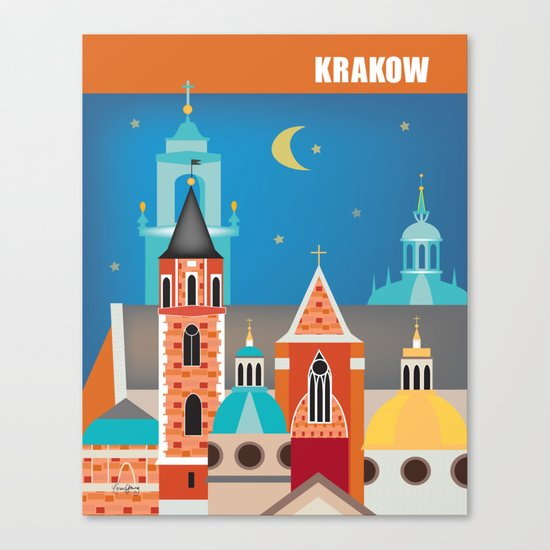Krakow, Poland - Skyline Illustration by Loose Petals by loosepetals