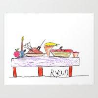 thanksgiving Art Prints featuring Thanksgiving Feast by Ryan van Gogh
