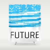 future Shower Curtains featuring Future by Blank & Vøid