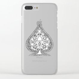 Ace of Spades Black and White Clear iPhone Case