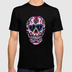 Sugar Skull, Hearts MEDIUM Mens Fitted Tee Black