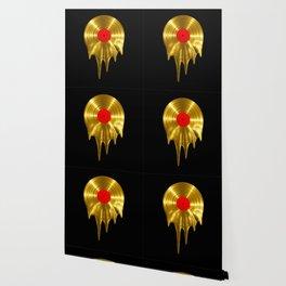 Melting vinyl GOLD / 3D render of gold vinyl record melting Wallpaper