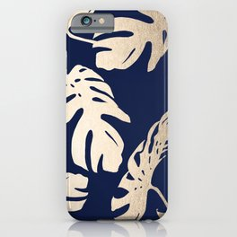 Simply Palm Leaves in White Gold Sands on Nautical Navy iPhone Case