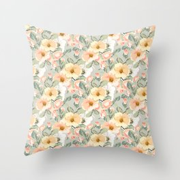 vintage yellow flowers on green Throw Pillow