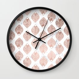 Modern rose gold leaf mandala pattern white marble Wall Clock