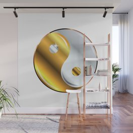 Yin and Yang Gold And Silver Wall Mural