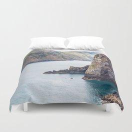 Cliff Face, Akaroa, New Zealand Duvet Cover