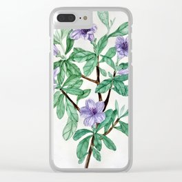Blue Violet Azaleas watercolor botanical painting Clear iPhone Case