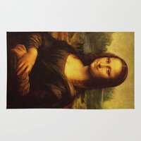 da vinci Area & Throw Rugs featuring Leonardo Da Vinci Mona Lisa Painting by Art Gallery