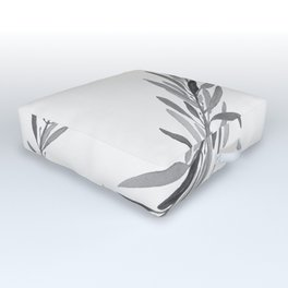 Eucalyptus leaves black and white Outdoor Floor Cushion