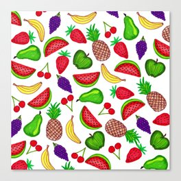 Tutti Fruity Hand Drawn Summer Mixed Fruit Canvas Print