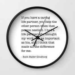 Ruth Bader Ginsburg Best Saying about Life Partner | RBG Quote Wall Clock