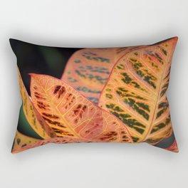 Orange Croton Leaves Rectangular Pillow