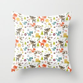 Cute Woodland Creatures Pattern Throw Pillow