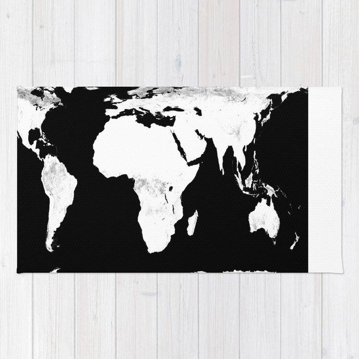 World map black white rug by vintageby2sweet society6 world map black white rug gumiabroncs Images
