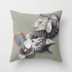 Spaceship kitten Throw Pillow